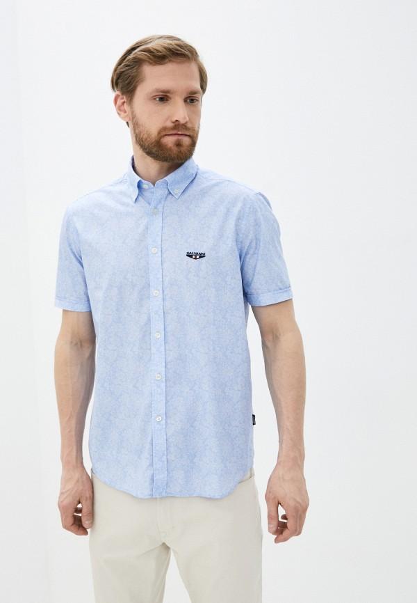 мужская рубашка с коротким рукавом galvanni, голубая