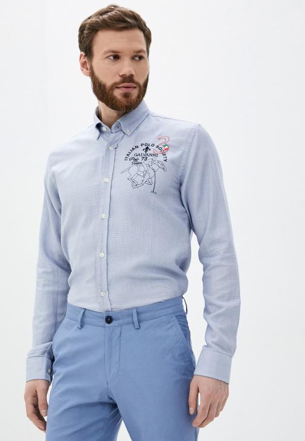 мужская рубашка с длинным рукавом galvanni, голубая