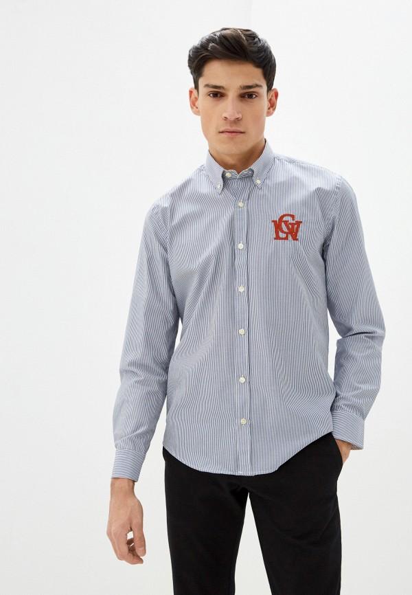 мужская рубашка с длинным рукавом galvanni, синяя