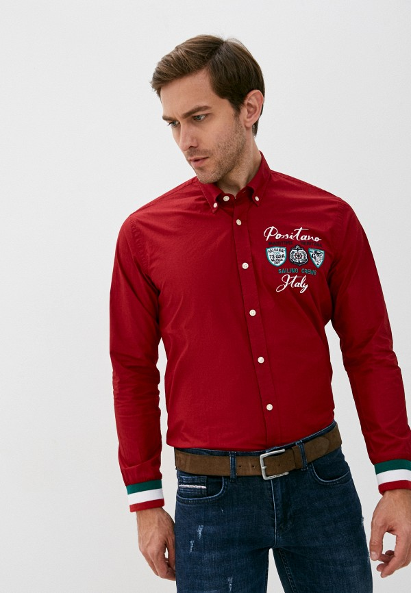 мужская рубашка с длинным рукавом galvanni, бордовая