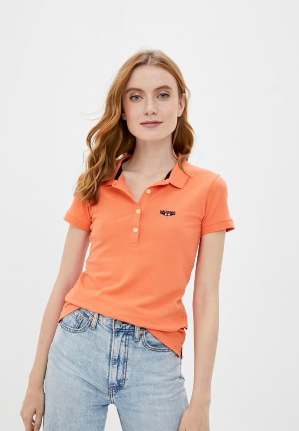 женское поло galvanni, оранжевое