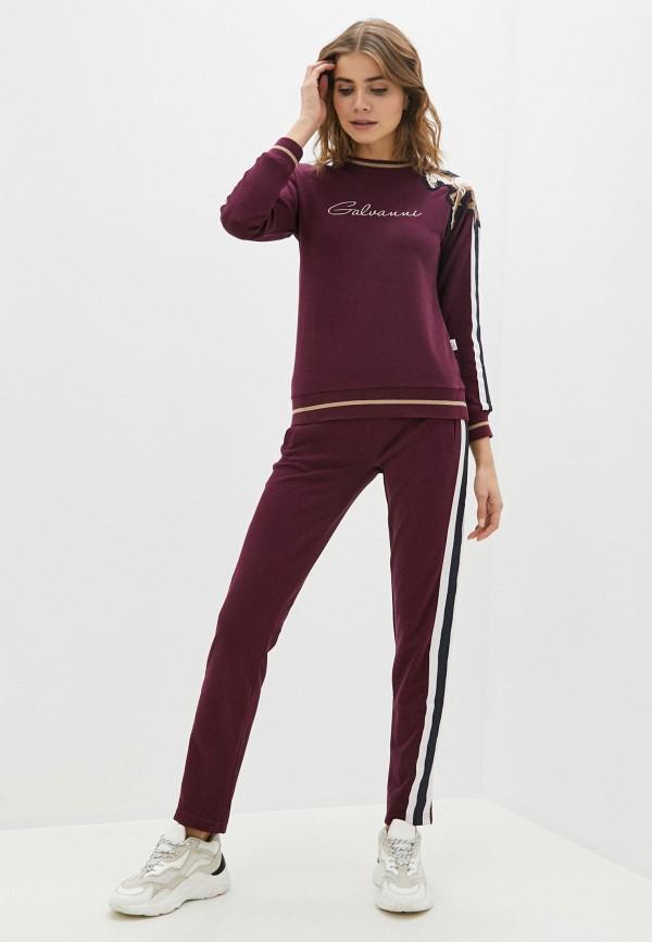 женский спортивный костюм galvanni, бордовый