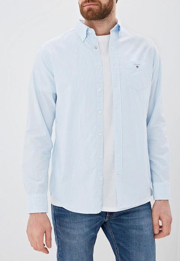 мужская рубашка с длинным рукавом gant, голубая