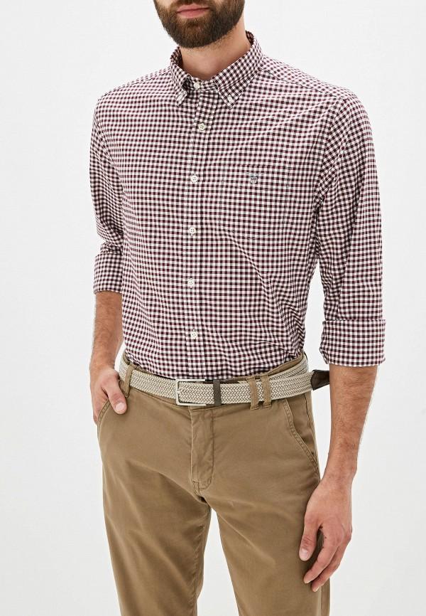 мужская рубашка gant, бордовая