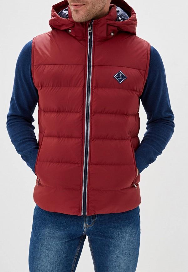 мужской жилет gant, бордовый