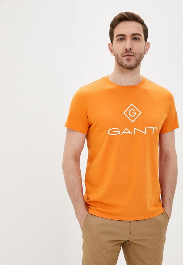 мужская футболка с коротким рукавом gant, оранжевая