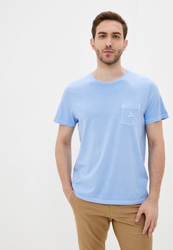 мужская футболка с коротким рукавом gant, голубая