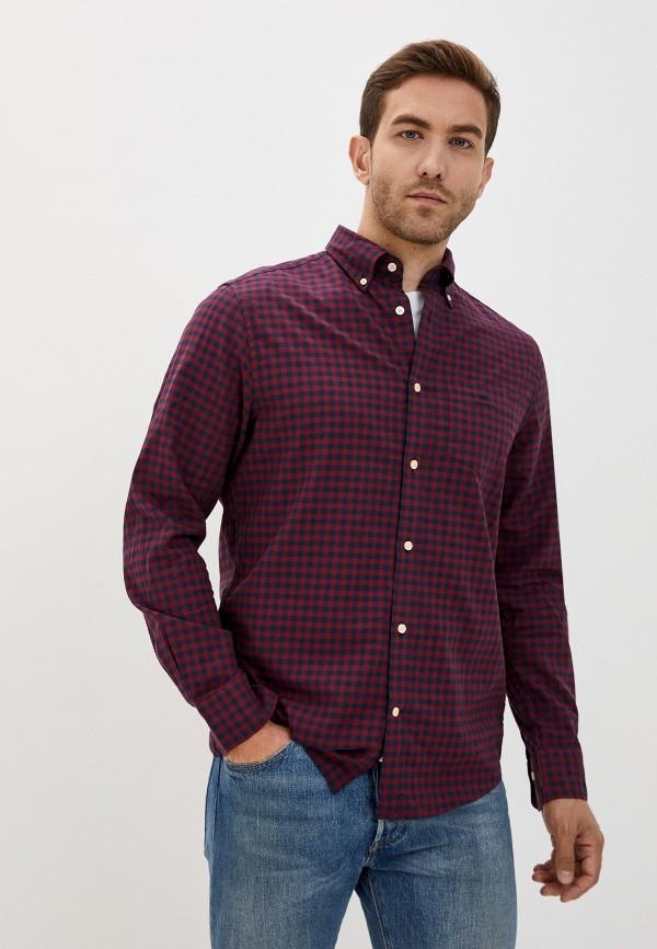 мужская рубашка с длинным рукавом gant, бордовая