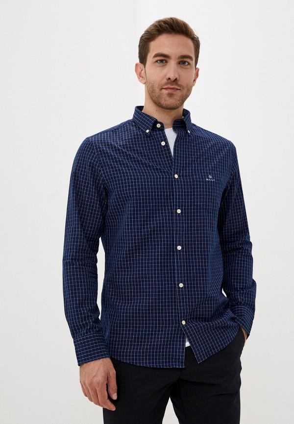 мужская рубашка с длинным рукавом gant, синяя