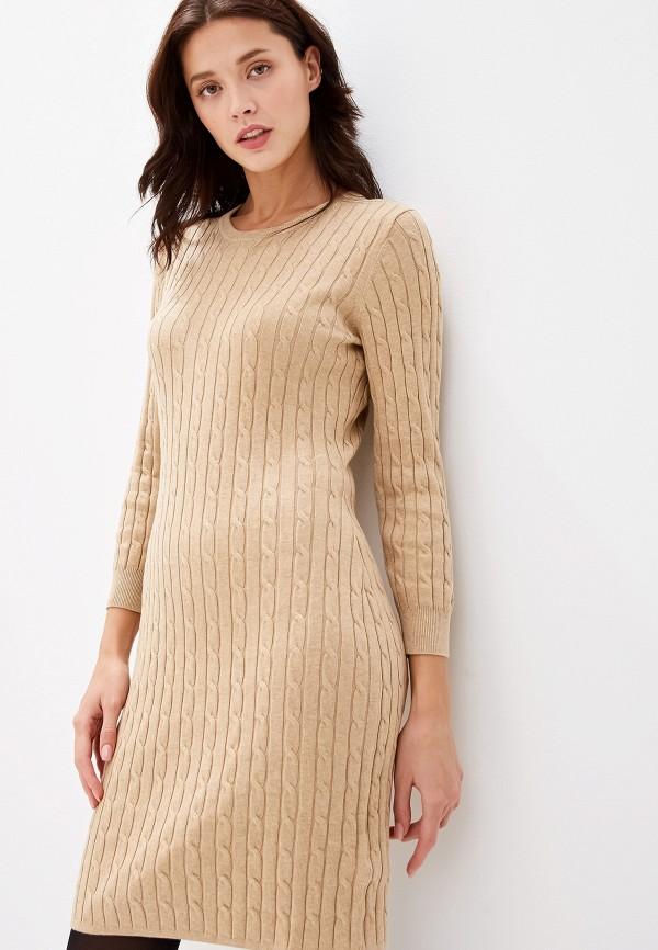 женское платье-футляр gant, бежевое