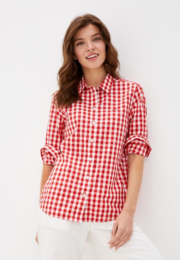 женская рубашка с длинным рукавом gant, красная