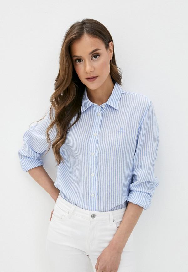 женская рубашка с длинным рукавом gant, голубая