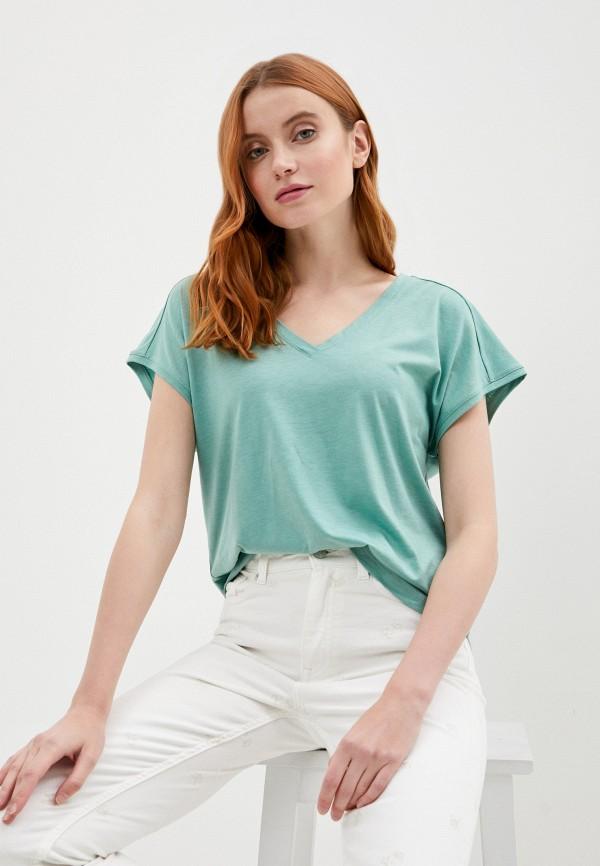 женская футболка gant, бирюзовая