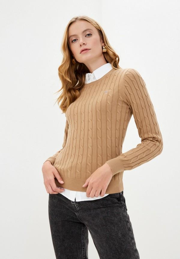 женский джемпер gant, коричневый