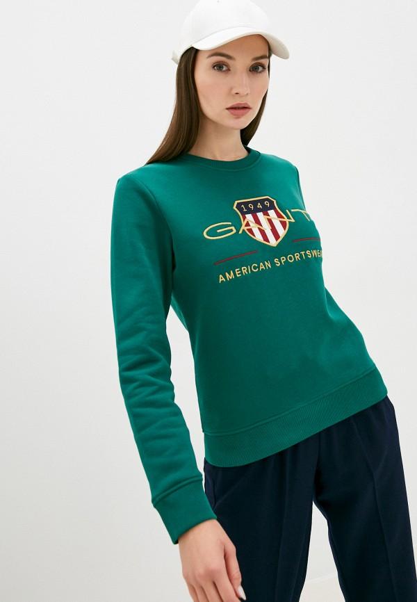 женский свитшот gant, зеленый