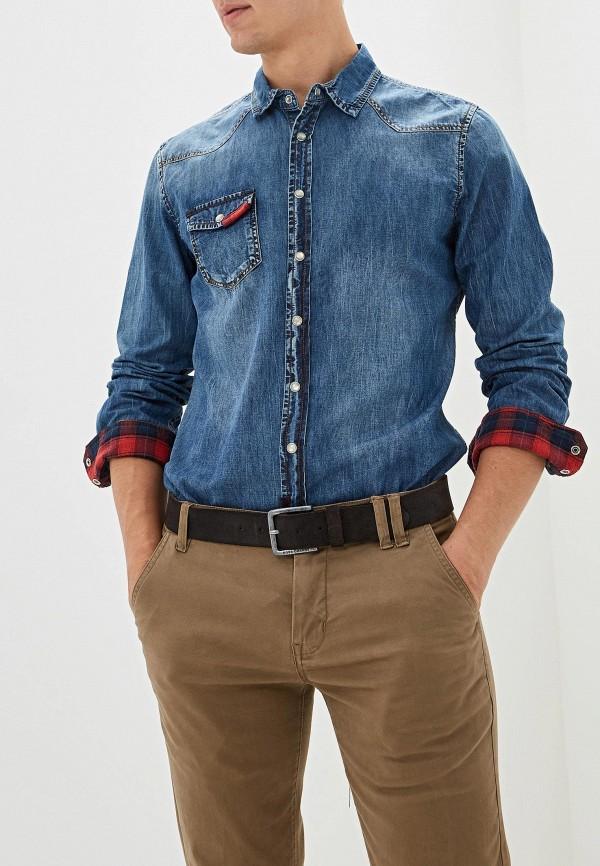 мужская джинсовые рубашка gaudi, синяя