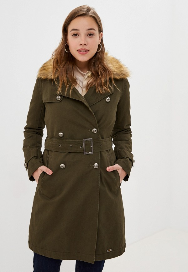 женское пальто gaudi, хаки