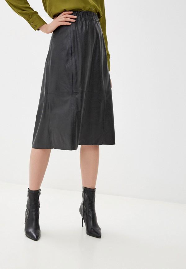женская кожаные юбка gerry weber, черная