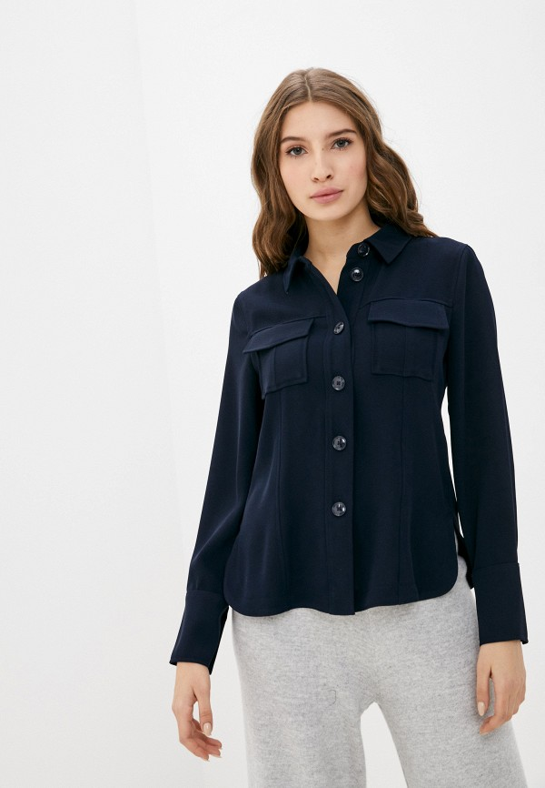 женская рубашка с длинным рукавом gerry weber, синяя