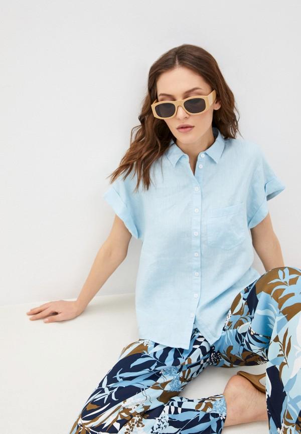 женская рубашка с коротким рукавом gerry weber, голубая