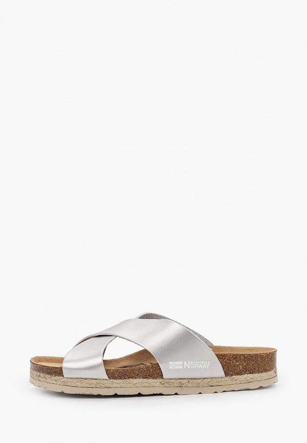 женские сандалии geographical norway, серебряные