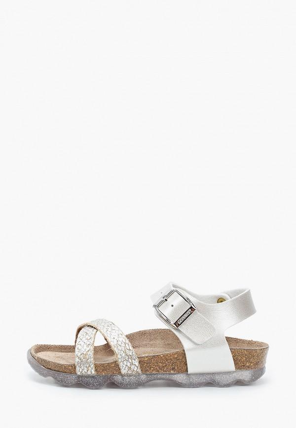 сандалии genuins для девочки, серебряные
