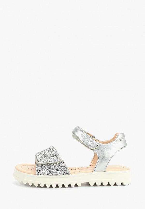 сандалии geox для девочки, серебряные