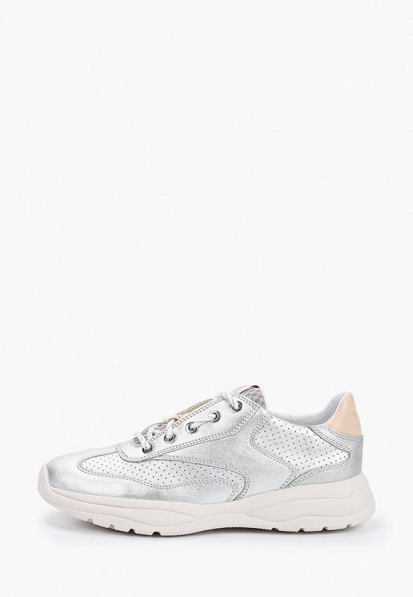 женские кроссовки geox, серебряные