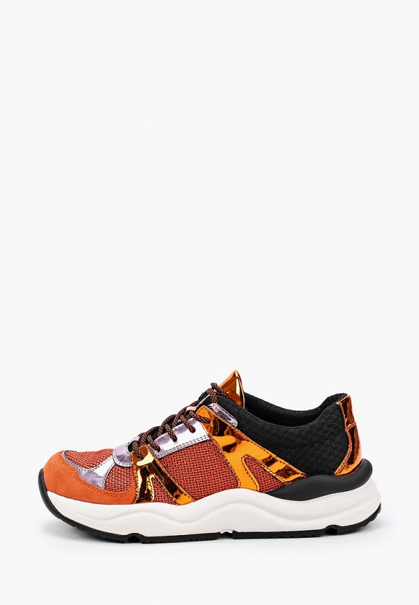 женские низкие кроссовки geox, оранжевые