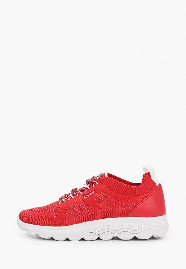 женские низкие кроссовки geox, красные