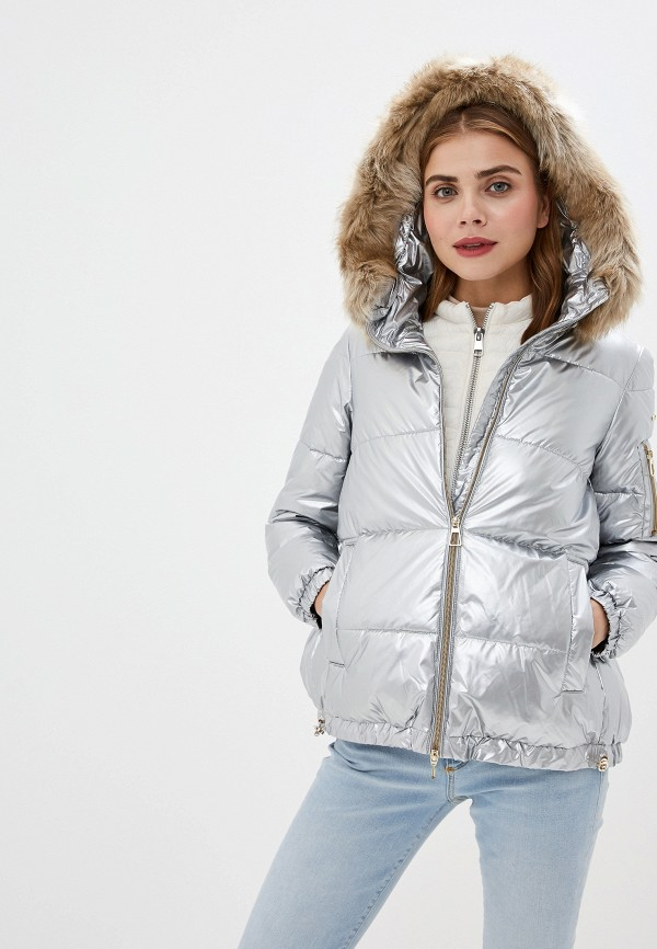 женская куртка geox, серебряная