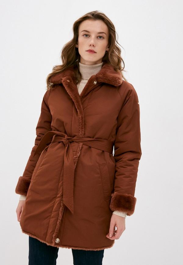женская утепленные куртка geox, коричневая
