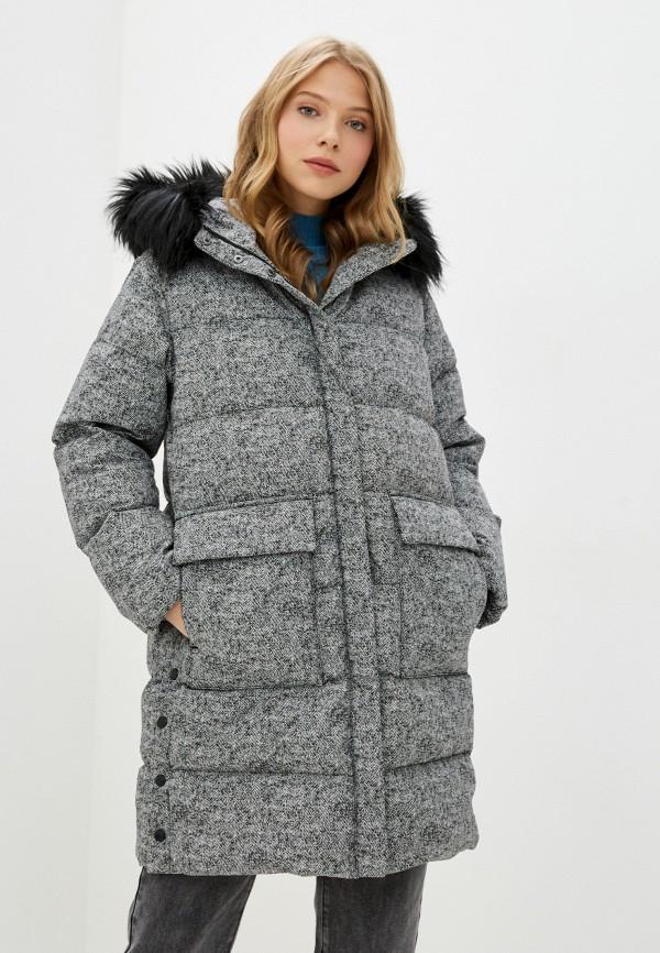женский пуховик geox, серый