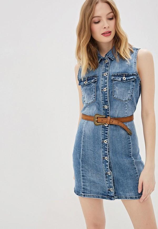 женское джинсовые платье g&g, голубое