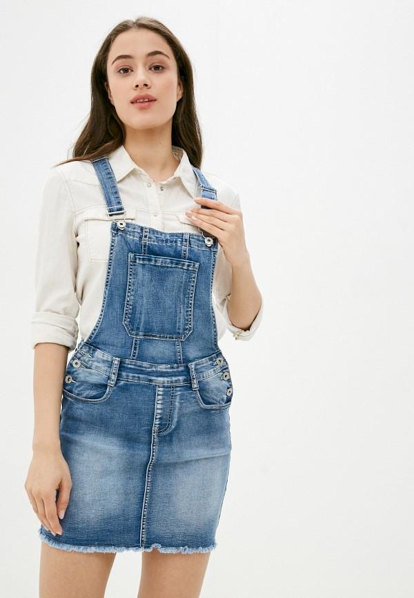 женское джинсовые платье g&g, синее
