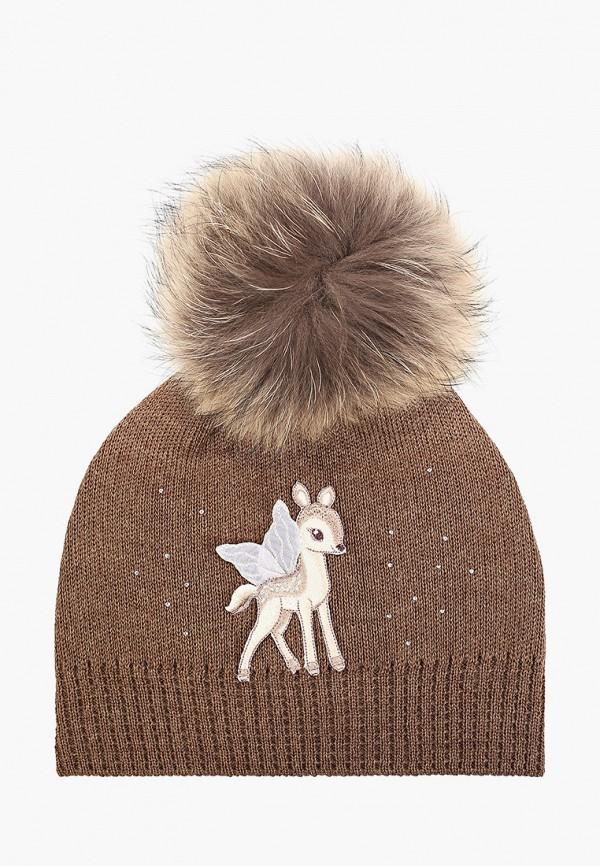 шапка giamo для девочки, коричневая