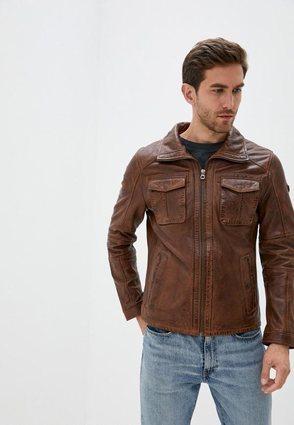 мужская кожаные куртка gipsy, коричневая