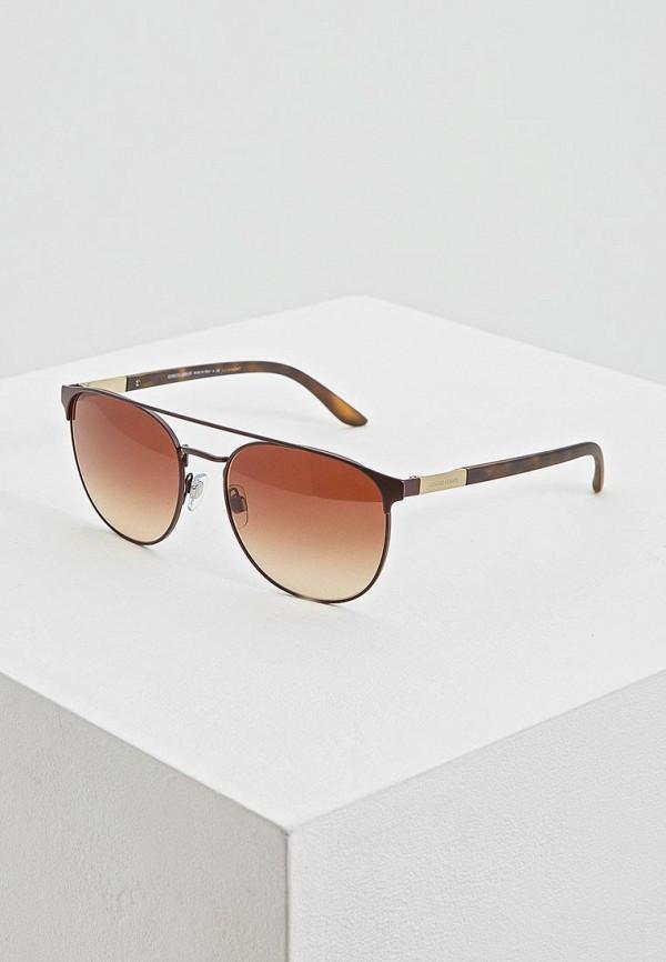 мужские круглые солнцезащитные очки giorgio armani, коричневые
