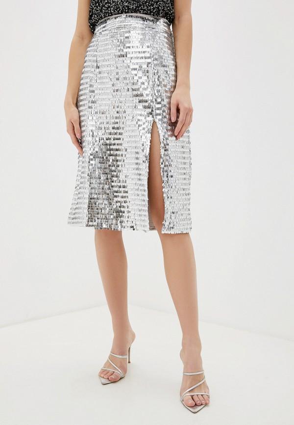 женская прямые юбка glamorous, серебряная