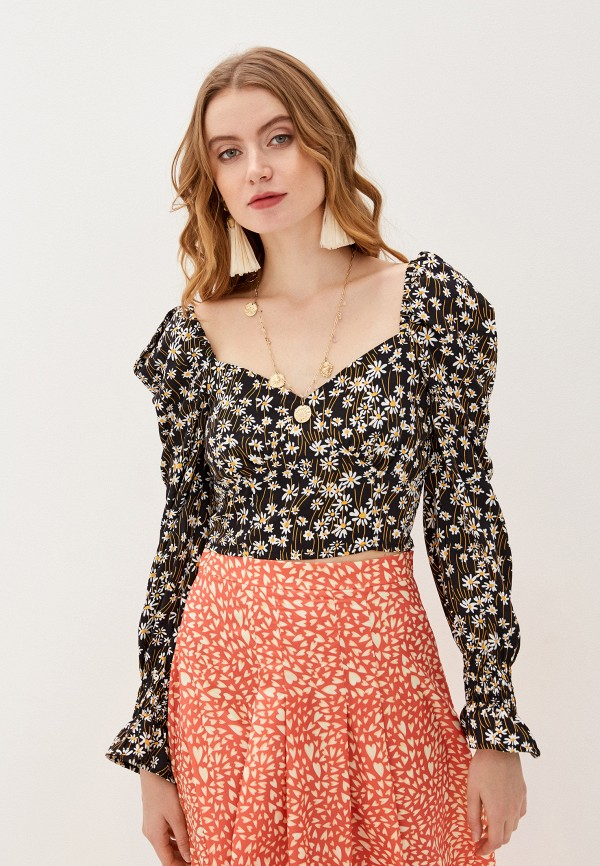 женская блузка с длинным рукавом glamorous, черная