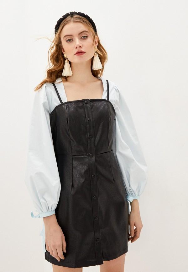 женское кожаные платье glamorous, черное