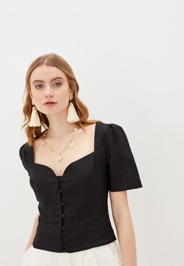 женская блузка с коротким рукавом glamorous, черная
