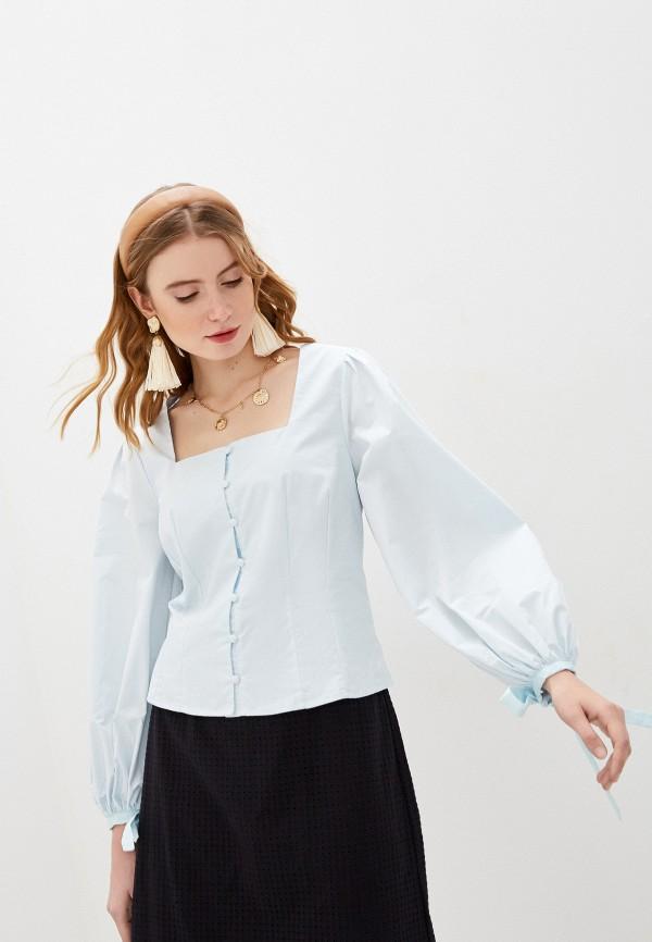 женская блузка с длинным рукавом glamorous, голубая