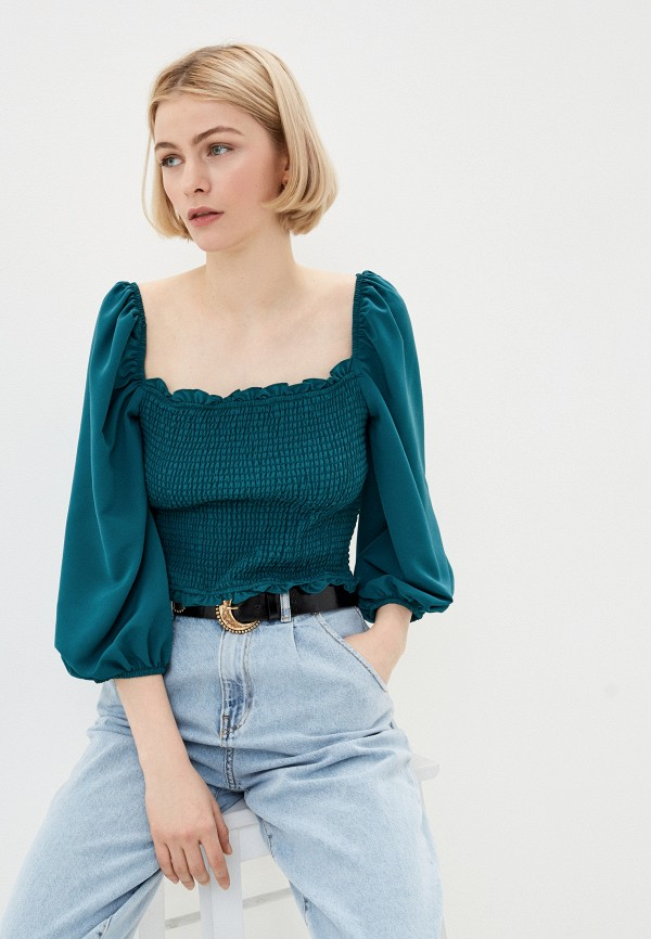 женская блузка glamorous, бирюзовая