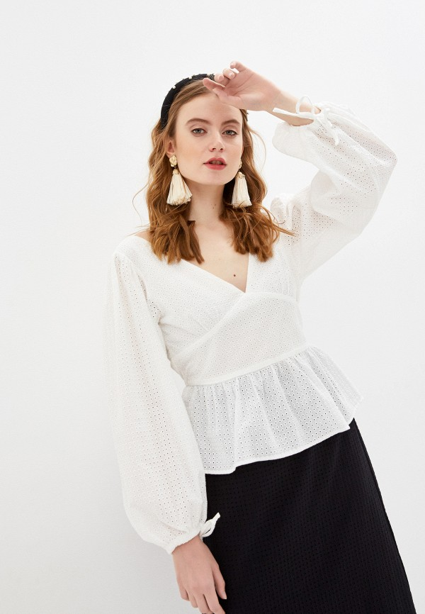 женская блузка с длинным рукавом glamorous, бирюзовая