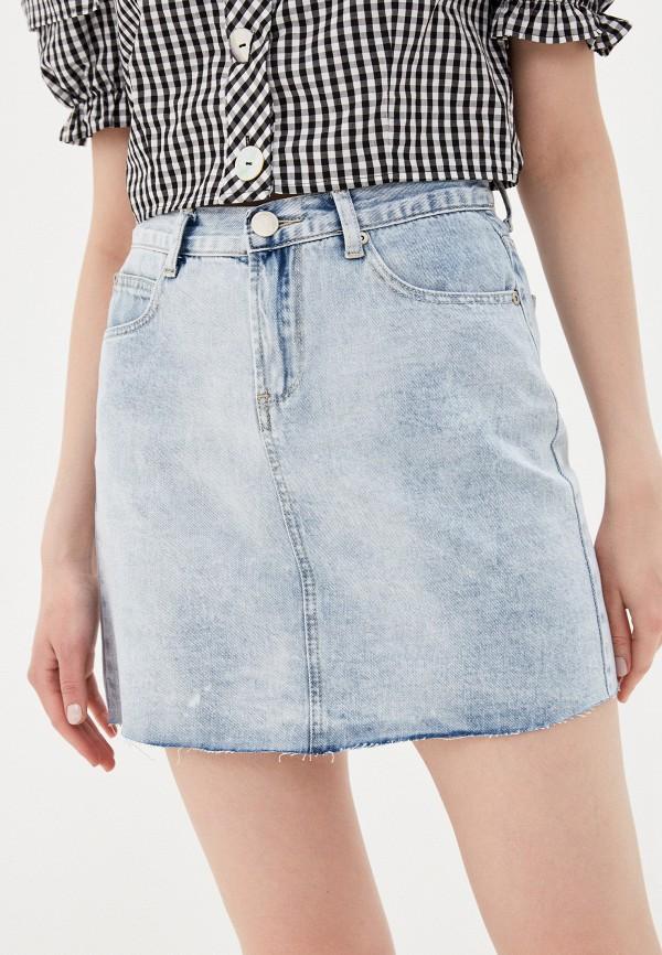 женская джинсовые юбка glamorous, голубая