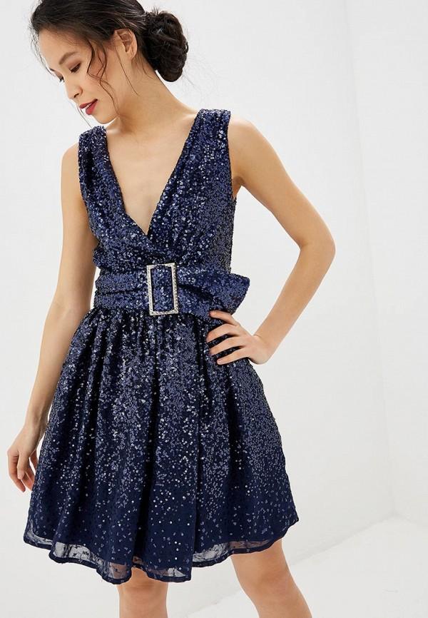 женское вечерние платье goddiva, синее
