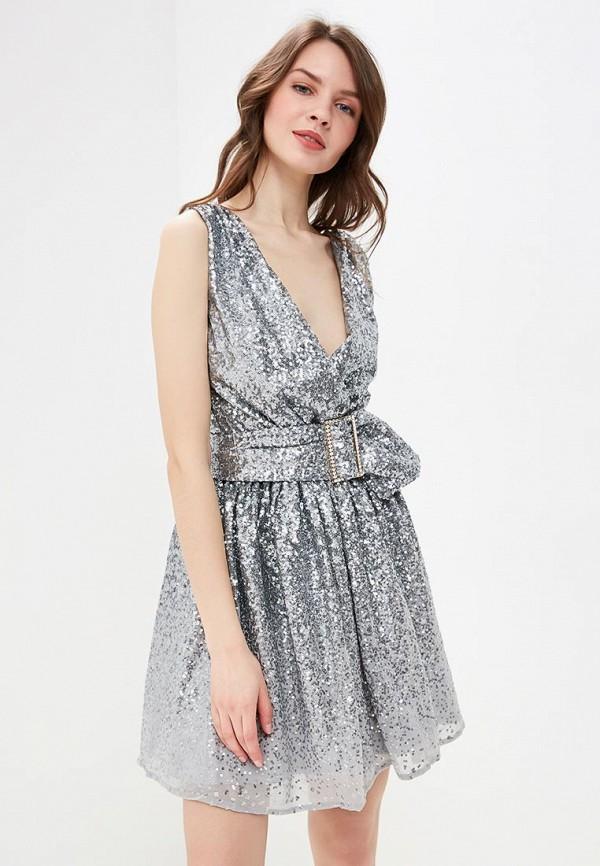 женское вечерние платье goddiva, серебряное