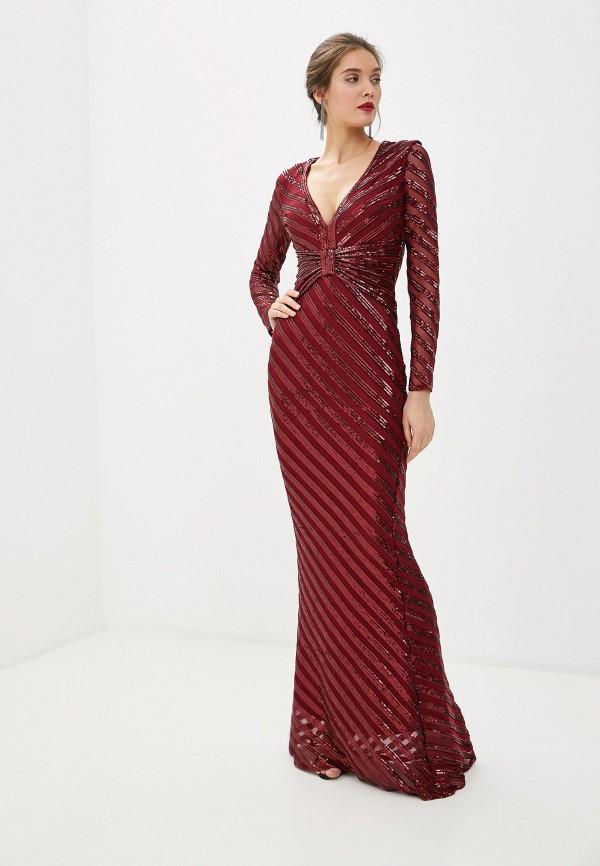 женское вечерние платье goddiva, бордовое
