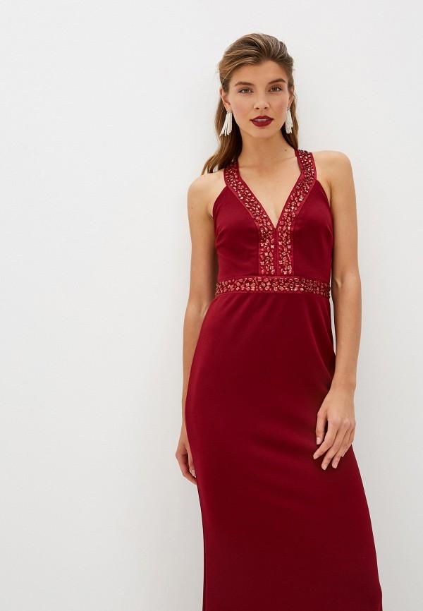 Фото 2 - женское вечернее платье Goddiva бордового цвета